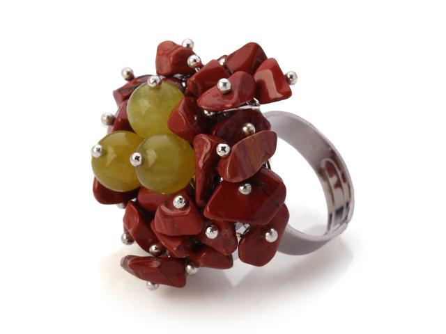 Nastaviteľný prsteň červený jaspis a žltý jadeit