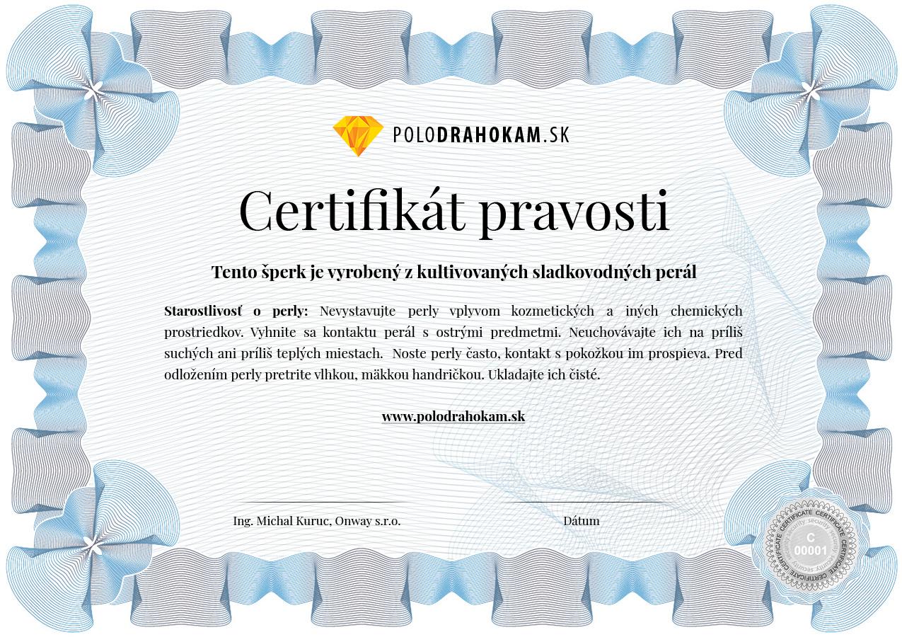 Certifikát pravosti sladkovodných perál